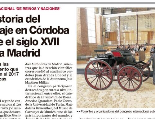 El Diario de Córdoba recoge la presentación de la publicación del IULCE «Movilidad cortesana y distinción»